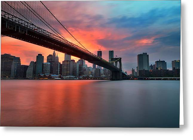Sunset Over Manhattan Greeting Card