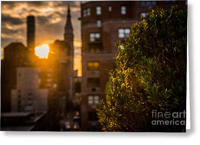 Sunset Over Manhattan New York City Greeting Card