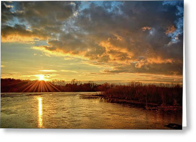 Sunset Over Marsh Greeting Card