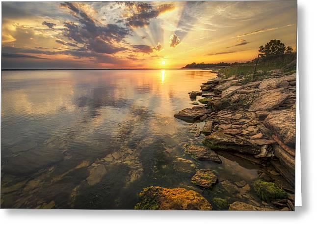 Sunset Over Milford Lake Greeting Card