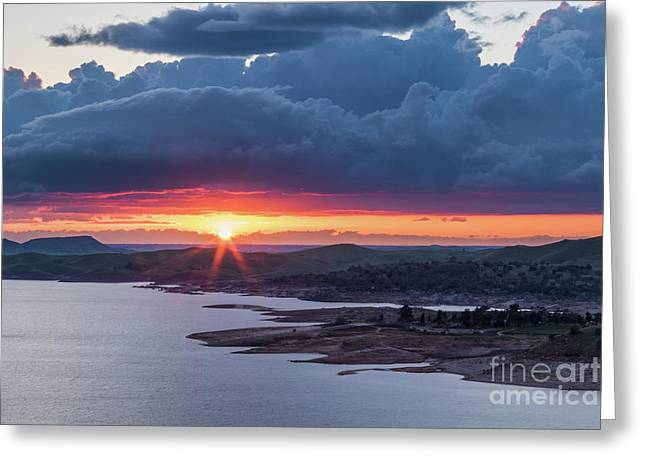 Sunset Over Millerton Lake  Greeting Card