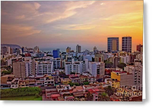 Sunset Over Miraflores, Lima, Peru Greeting Card