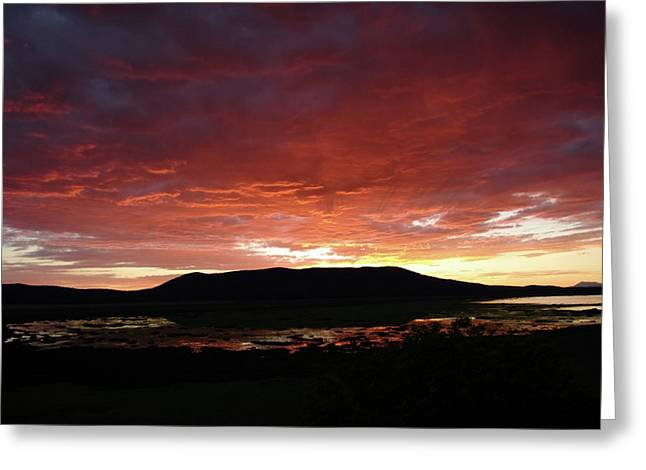Greeting Card featuring the painting Sunset Over Mormon Lake by Dennis Ciscel
