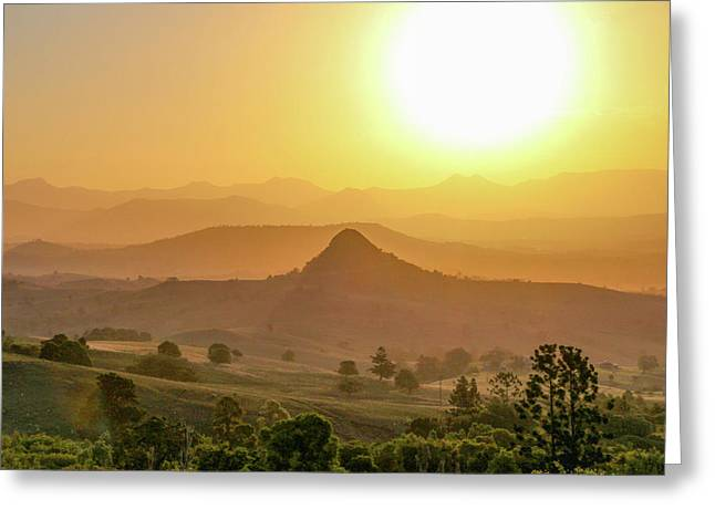 Greeting Card featuring the photograph Sunset Over Mt Sugarloaf by Keiran Lusk