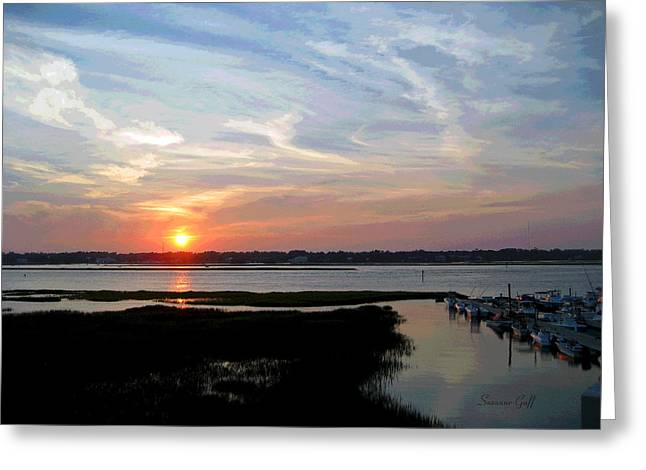 Sunset Over Murrells Inlet II Greeting Card by Suzanne Gaff