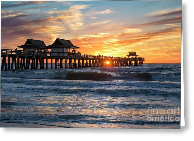 Greeting Card featuring the photograph Sunset Over Naples Pier by Brian Jannsen