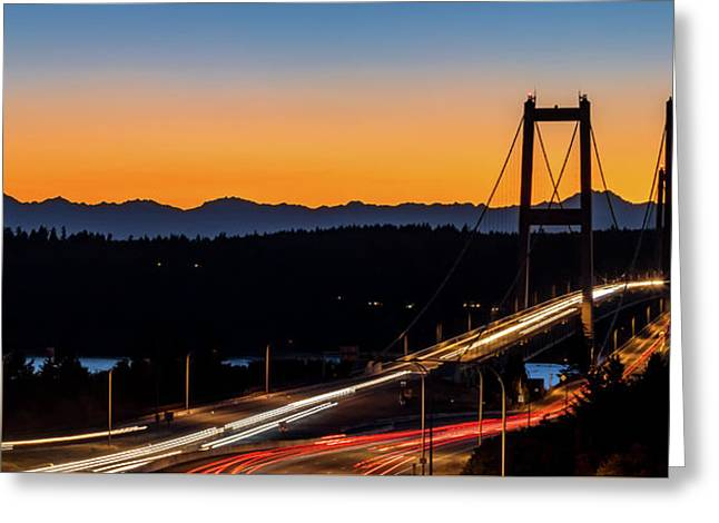 Sunset Over Narrrows Bridge Panorama Greeting Card by Rob Green