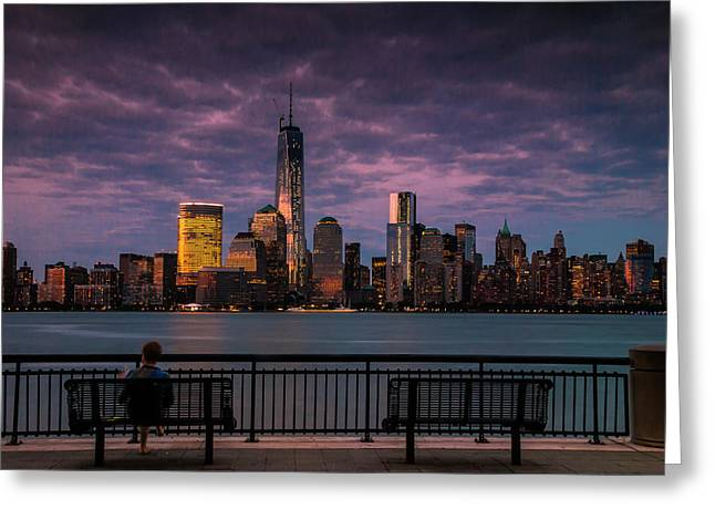 Sunset Over New World Trade Center New York City Greeting Card
