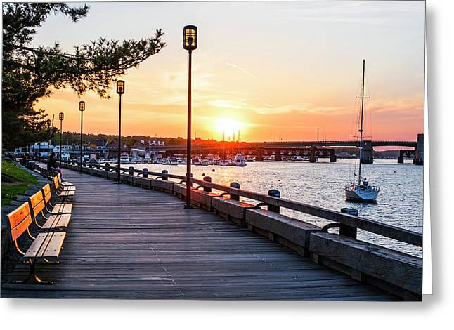 Sunset Over Newburyport Ma Merrimack River Newburyport Turnpike Greeting Card