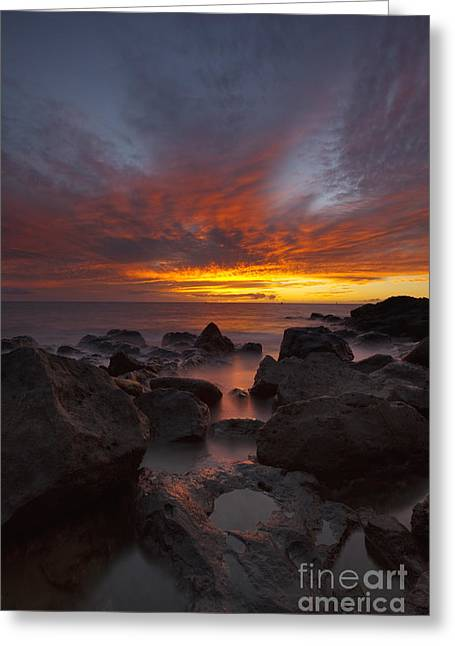 Sunset Over Ocean At Kawaihae Greeting Card