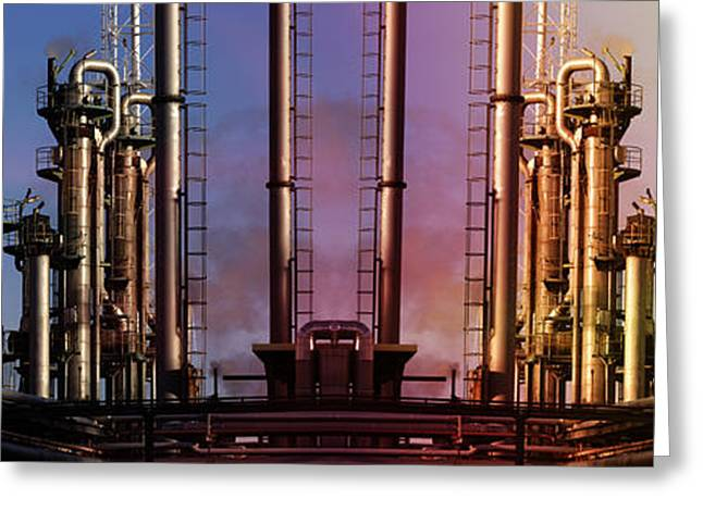 Sunset Over Oil And Gas Industry Greeting Card by Christian Lagereek