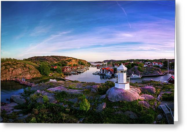 Sunset Over Old Fishing Port - Aerial Photography Greeting Card