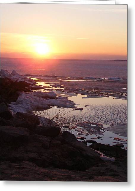 Sunset Over Oneida Lake - Vertical Greeting Card