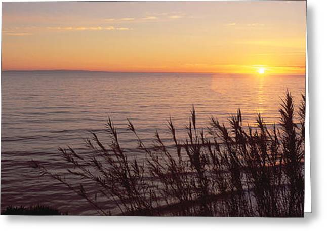Sunset Over Pacific Ocean Near Santa Greeting Card by Panoramic Images