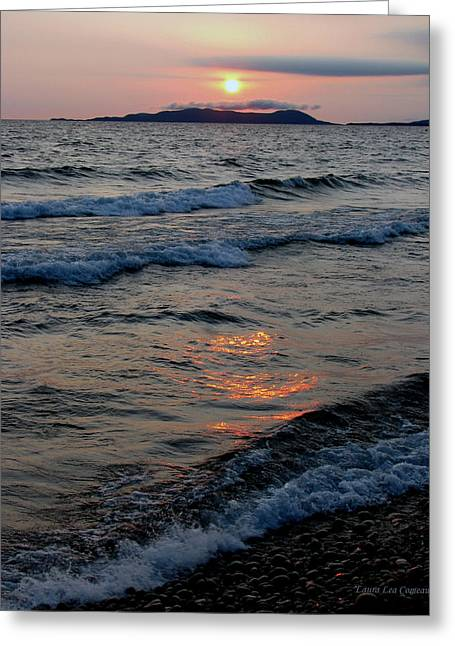 Sunset Over Pic Island Greeting Card by Laura Wergin Comeau
