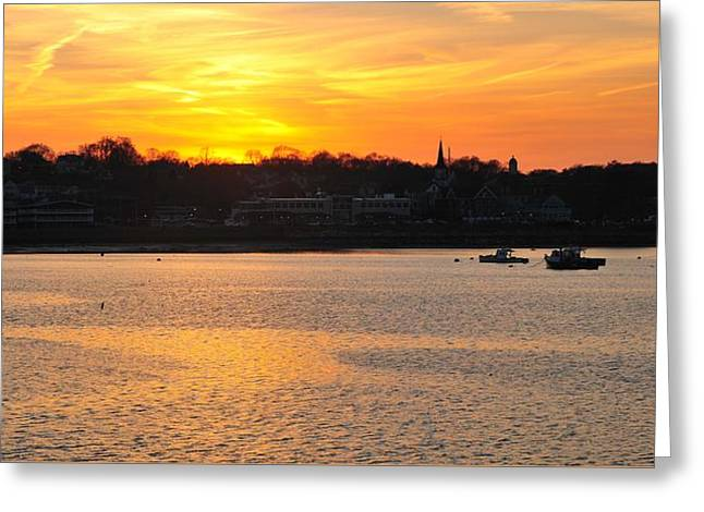Sunset Over Plymouth Greeting Card