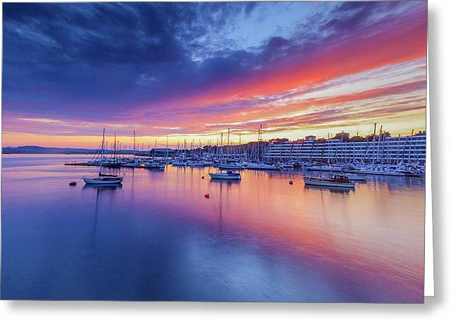 Sunset Over Plymouth From  Sound From Roayl William Dock Yard Greeting Card by Maggie McCall