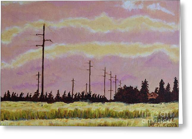 Sunset Over Powerlines Greeting Card