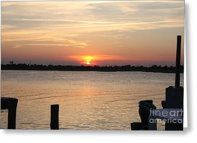 Sunset Over Reynolds Channel In Point Lookout Greeting Card