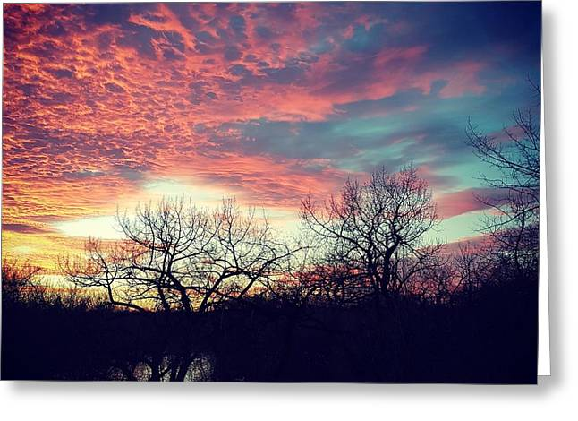 Sunset Over River Greeting Card