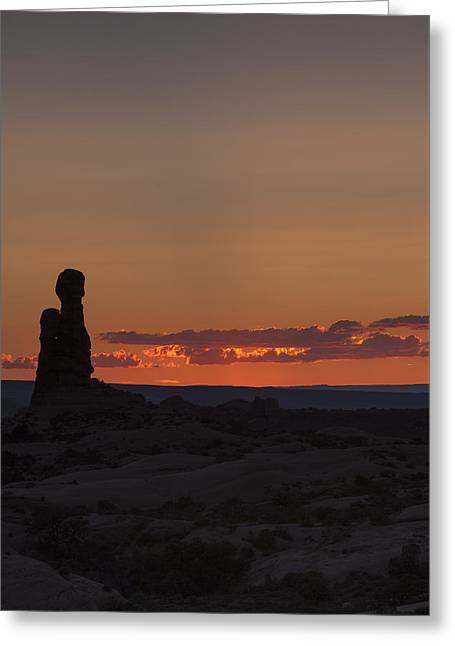 Sunset Over Rock Formation Greeting Card