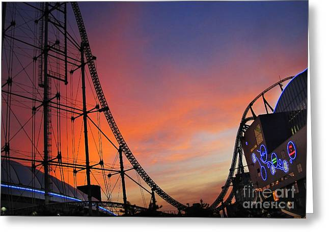 Sunset Over Roller Coaster Greeting Card
