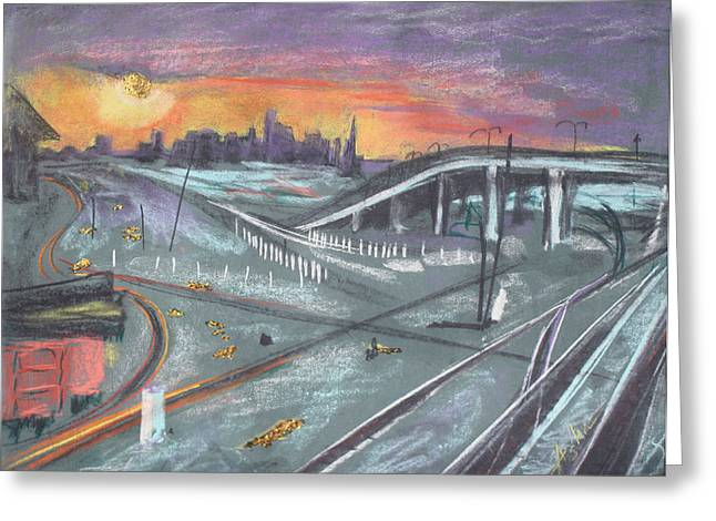 Lamp Post Mixed Media Greeting Cards - Sunset Over San Francisco and Oakland Train Tracks Greeting Card by Asha Carolyn Young