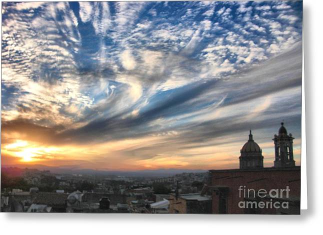 Sunset Over San Miguel De Allende Greeting Card by John  Kolenberg