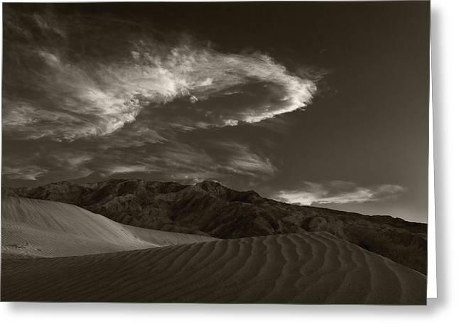 Sunset Over Sand Dunes Death Valley Greeting Card by Steve Gadomski