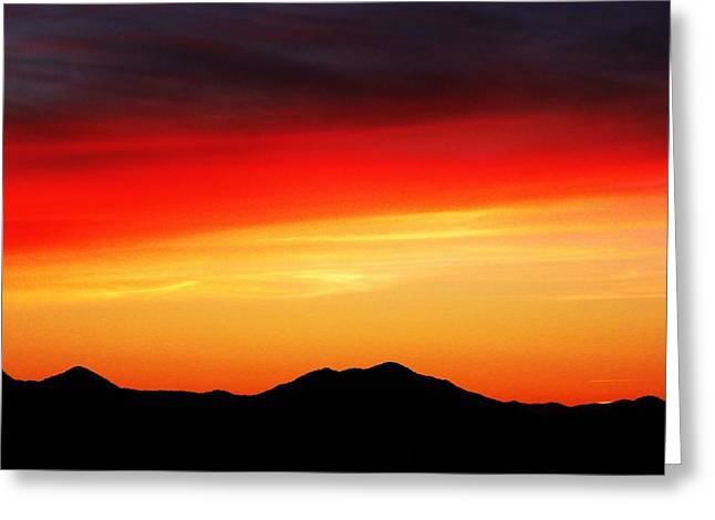 Sunset Over Santa Fe Mountains Greeting Card