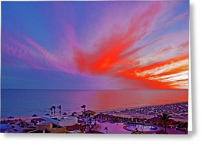Sunset Over Sea Of Cortez And Encanto Near Puerto Penasco In Sonora-mexico Greeting Card