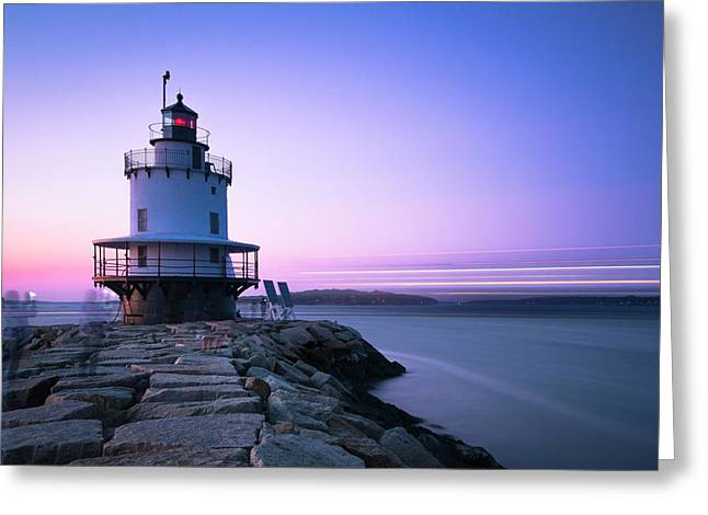 Sunset Over Spring Breakwater Lighthouse In South Maine Greeting Card