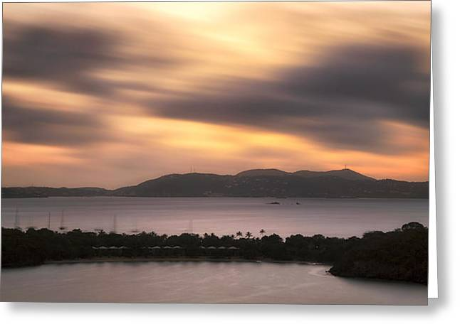 Sunset Over St. John And St. Thomas Panoramic Greeting Card by Adam Romanowicz