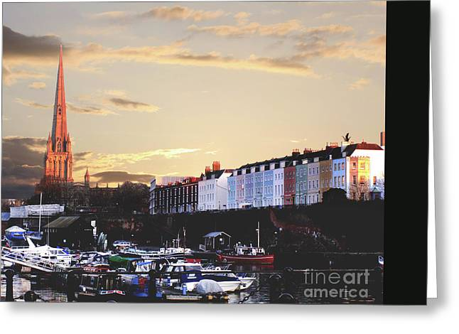 Greeting Card featuring the photograph Sunset Over St Mary Redcliffe Bristol by Terri Waters