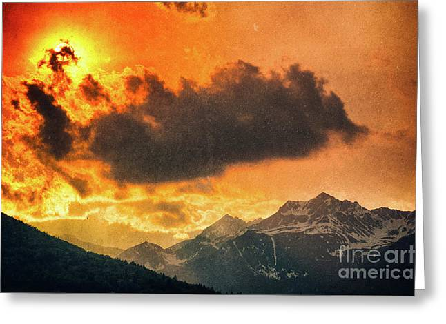 Greeting Card featuring the photograph Sunset Over The Alps by Silvia Ganora