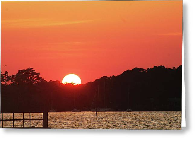 Sunset Over The Bay Greeting Card by Carolyn Ricks