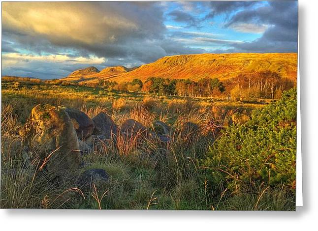 Sunset Over The Campsie Fells Greeting Card by RKAB Works