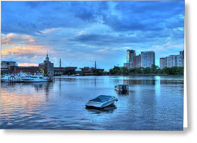 Sunset Over The Charles River And The Museum Of Science - Boston Greeting Card