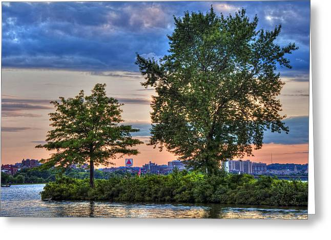 Sunset Over The Charles River Basin Greeting Card