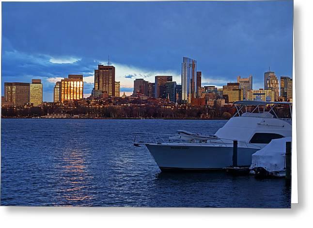 Sunset Over The Charles River Boston Ma Golden Greeting Card by Toby McGuire