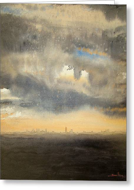 Greeting Card featuring the painting Sunset Over The City by Andrew King