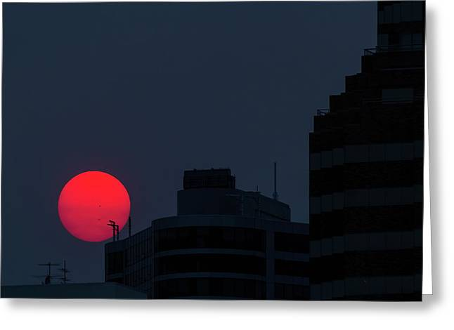 Sunset Over The City Of Portland Oregon Greeting Card