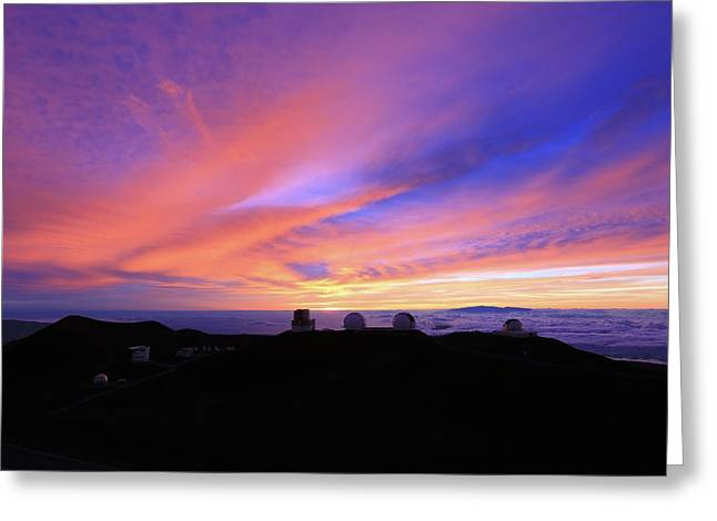 Sunset Over The Clouds Greeting Card