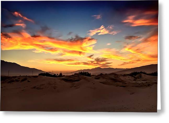 Sunset Over The Desert Greeting Card