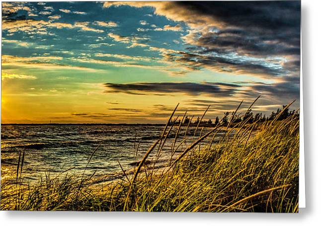 Sunset Over The Great Lake Greeting Card