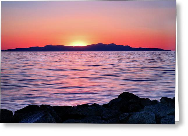 Sunset Over The Great Salt Lake Greeting Card by Kayta Kobayashi