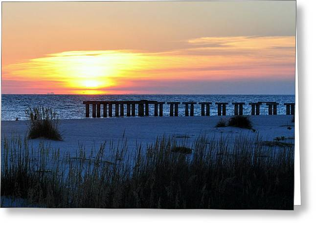 Sunset Over The Gulf Of Mexico Greeting Card by Steven Scott
