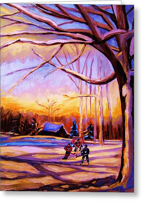 Sunset Over The Hockey Game Greeting Card by Carole Spandau
