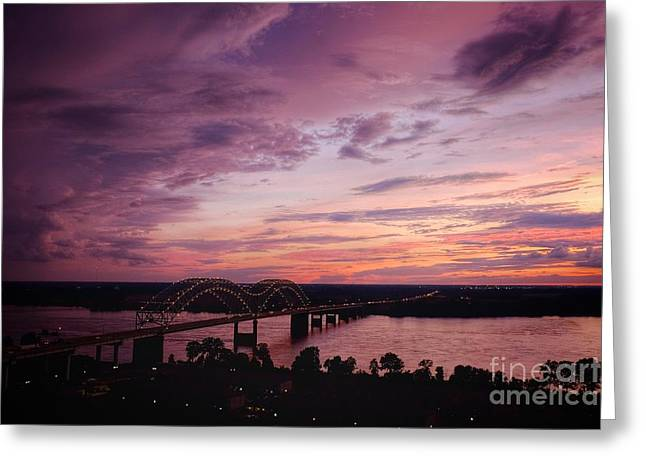 Sunset Over The I40 Bridge In Memphis Tennessee  Greeting Card by T Lowry Wilson