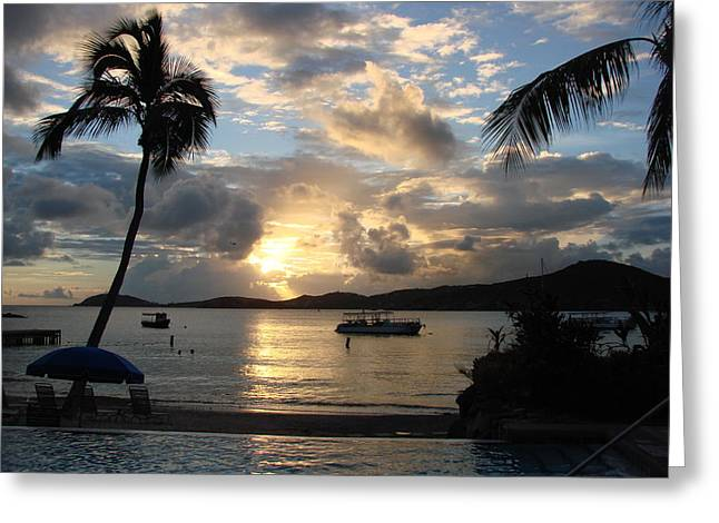 Sunset Over The Inifinity Pool At Frenchman's Cove In St. Thomas Greeting Card